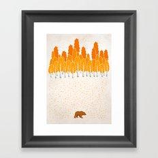 Birch and Bear Framed Art Print