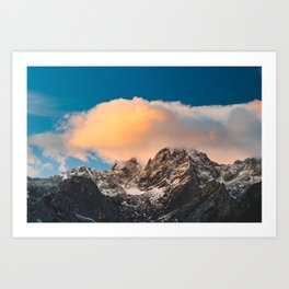 Burning clouds over the mountains Art Print