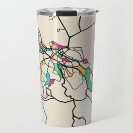Colorful City Maps: Belgrade, Serbia Travel Mug