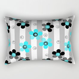 Black and turquoise floral pattern . Rectangular Pillow