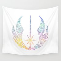 jedi Wall Tapestries featuring Multicolored Floral Jedi Symbol by foreverwars