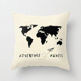 Adventure Map - Vintage Black Throw Pillow