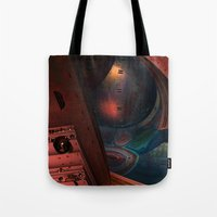 sci fi Tote Bags featuring Sci-Fi by Lyle Hatch