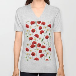 Poppies and daisies Unisex V-Neck