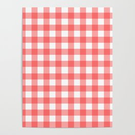 Red gingham fabric cloth, seamless pattern Poster