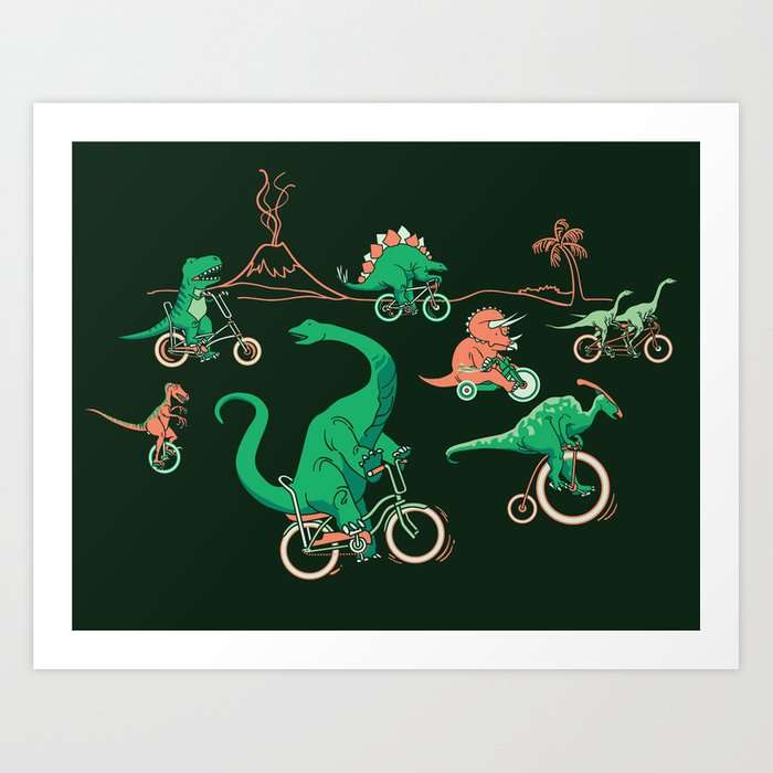 Dinosaurs on Bikes! Art Print