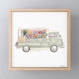 Flower Truck Watercolor Print Mint Framed Mini Art Print