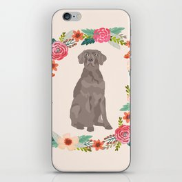 weimaraner floral wreath dog breed pure breed pet portrait iPhone Skin