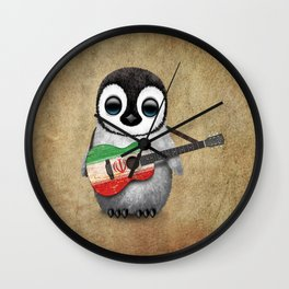 Baby Penguin Playing Iranian Flag Acoustic Guitar Wall Clock