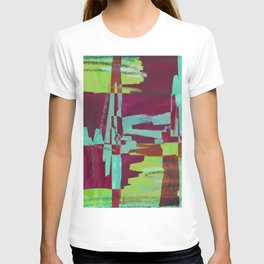 Raspberry Jam - Textured, abstract, raspberry, cyan and green painting T-shirt