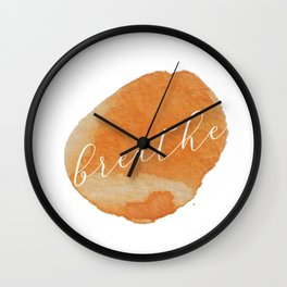 Breathe Watercolor Circle Wall Clock