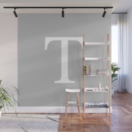 Silver Gray Basic Monogram T Wall Mural