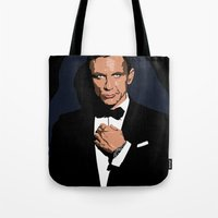 james bond Tote Bags featuring 007 JAMES BOND by MATT WARING