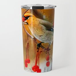 Artful Bohemian Waxwing in the flowering crab tree Travel Mug