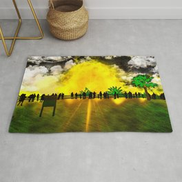 Sun Explosion, view from the coastline Rug