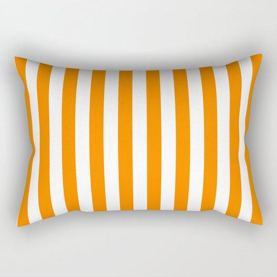 Vertical Stripes (Orange/White) Rectangular Pillow