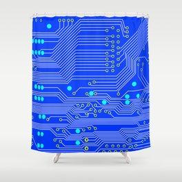 Blue Circuit Board  Shower Curtain