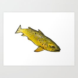 Swimming Brown Art Print