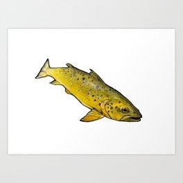 Swimming Brown Art Print