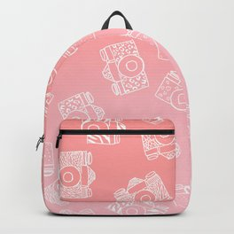 Girly modern hand drawn cameras pattern on pink blush ombre Backpack