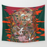 swan Wall Tapestries featuring WIND THE SWAN by CASSIDY RAE MARIETTA