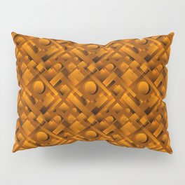 Volumetric design with interlaced circles and bronze rectangles of stripes. Pillow Sham