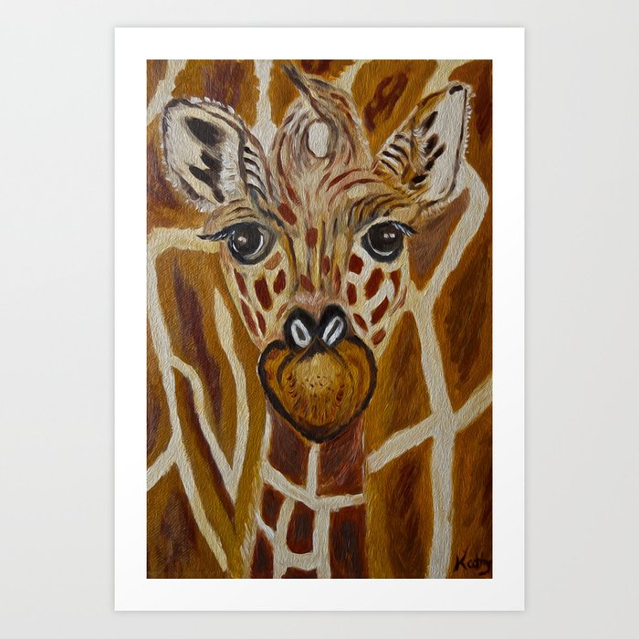 Baby Giraffe Art Kids Room Bathroom Zoo Animals Nursery Print