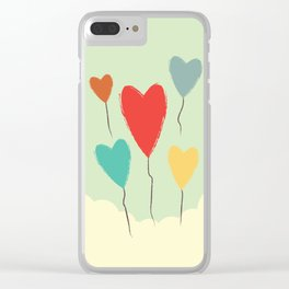 Heart Balloons above the Clouds Clear iPhone Case