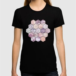 Rose Quartz and Amethyst Stone and Marble Hexagon Tiles T-shirt