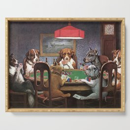 Dogs Playing Poker A Friend in Need Painting Serving Tray