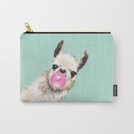 Bubble Gum Sneaky Llama in Green Carry-All Pouch