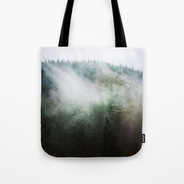Misty Trees. Forest. Fog. PNW. Pacific Northwest Art. Oregon. Tote Bag