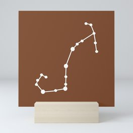 Scorpio (White & Brown) Mini Art Print