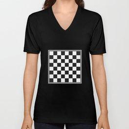Vintage Chessboard & Checkers White Back Unisex V-Neck