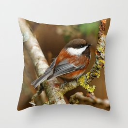 Chestnut-Backed Chickadee in the Cherry Tree Throw Pillow