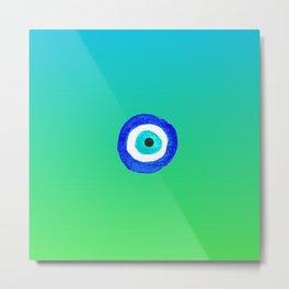 Single Evil Eye Amulet Talisman Ojo Nazar - ombre lime to tuquoise Metal Print