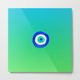 Single Evil Eye Amulet Talisman Ojo Nazar - ombre lime to tuquoise Metal Print