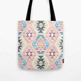 Woven Textured Pastel Kilim Pattern Tote Bag