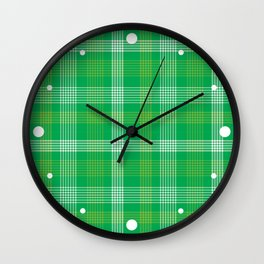 Green Plaid Pattern Wall Clock