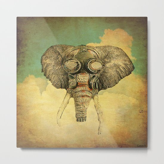 Gas mask for elephant Metal Print