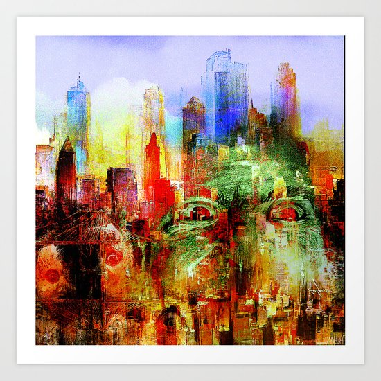 welcome to scary city Art Print