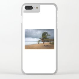 Windswept Palm tree Clear iPhone Case