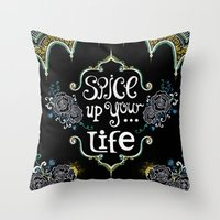 spice Throw Pillows featuring Spice by Melinda Francis