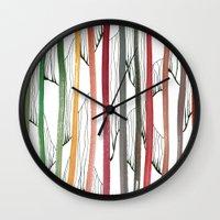 stripes Wall Clocks featuring STRIPES by Uta Krauss