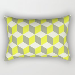 Diamond Repeating Pattern In Limelight Yellow Gray and White Rectangular Pillow