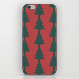 Red & Green Pine Tree Cut Out iPhone Skin