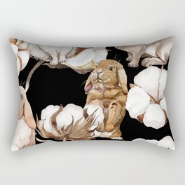 Cotton Flower & Rabbit Pattern on Black 01 Rectangular Pillow