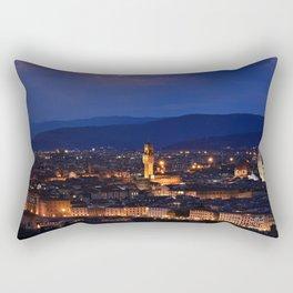 Panorama of Duomo Santa Maria Del Fiore, tower of Palazzo Vecchio. Rectangular Pillow