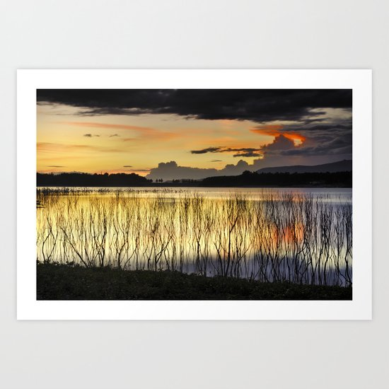 Calm sunset at the lake after the storm Art Print