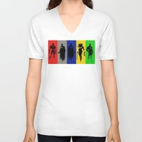 justice league V-neck T-shirts featuring Justice Silhouettes by iankingart